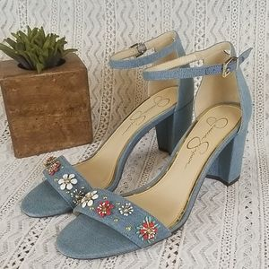 Jessica Simpson Stud Denim Ankle Strap Heels
